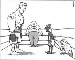 ¨°• √ الروابط الإقتصاديـــــة ¨°• √المنظمات العالمية و قانون الاقوى• √ Omc-fmi-caricature-300x238