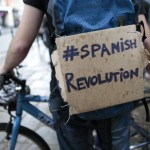 Expatriate Spaniards, joining protests in Spain against corrupt poiticians and bankers, take part in a demonstration in London